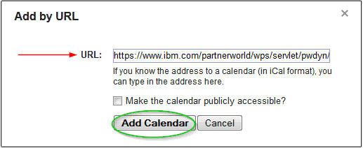 Click 'Add calendar' to finish.