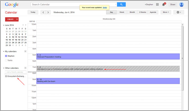 The calendar is identified by name and color on the left hand side of the google calendar page.