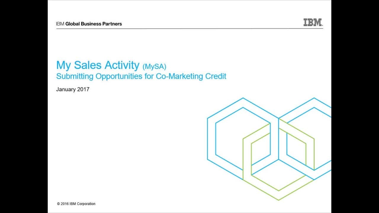 ibm partnerworld my sales activity mysa get started